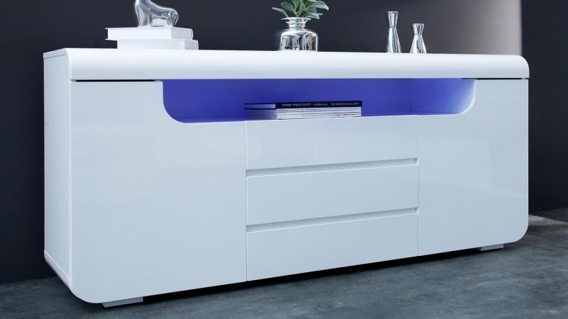 Bahut Design Lumineux Blanc 2 Portes 3 Tiroirs Nao