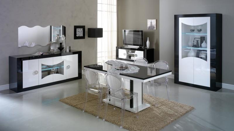 salle a manger design et moderne noire et blanche nevis gdegdesign