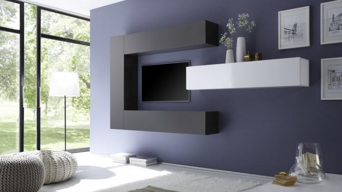 Ensemble meuble TV moderne avec colonnes de rangement