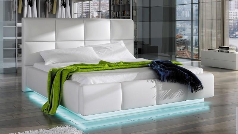 Lit design blanc 160x200 cm avec clairage LED Winston  GdeGdesign