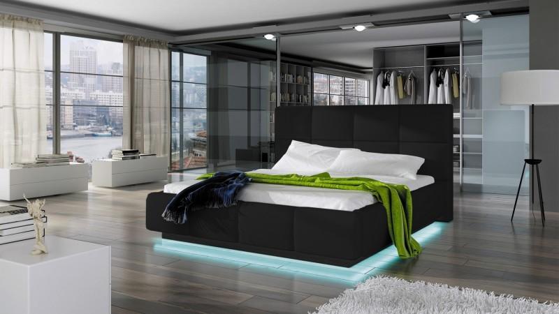 Lit Design 160x200 Cm En Simili Cuir Noir Avec LED Winston