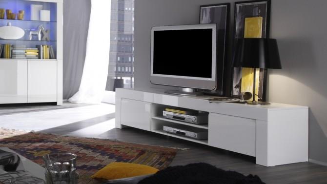 meuble tv laque blanc 190 cm avec portes et etagere naomi gdegdesign