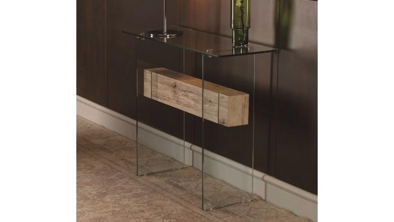 Console verre et bois design transparente Diana  GdeGdesign