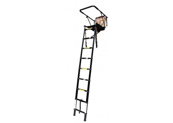 2.5m telescopic high seat, tree ladder, stalking, back