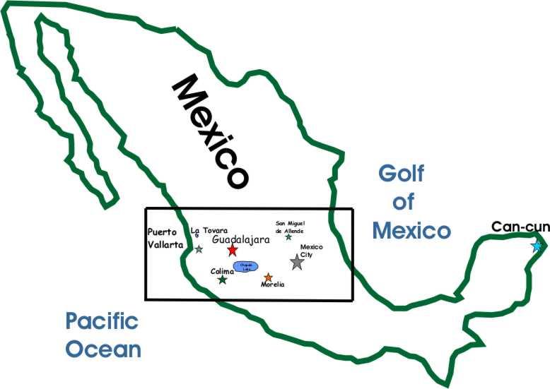 Mapa Guachimontones en Jalisco