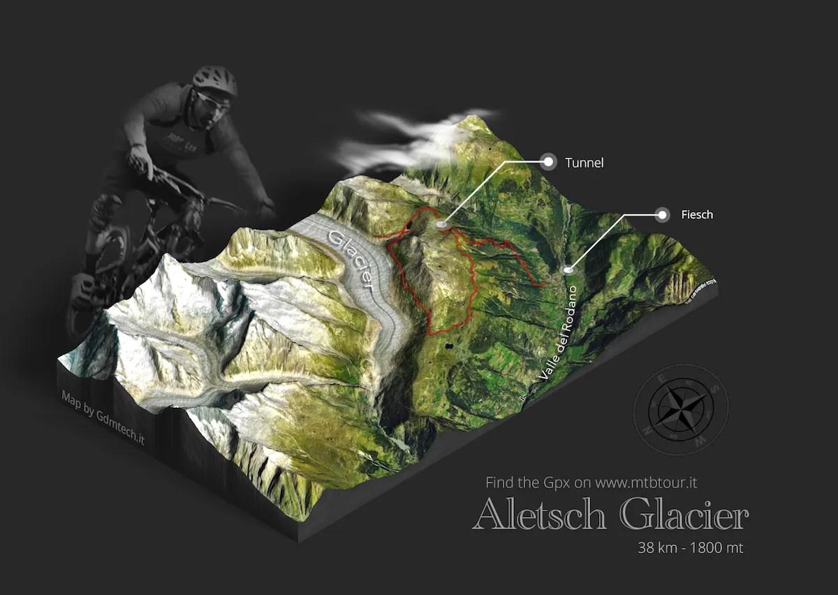 Mappa 3d percorso mtb