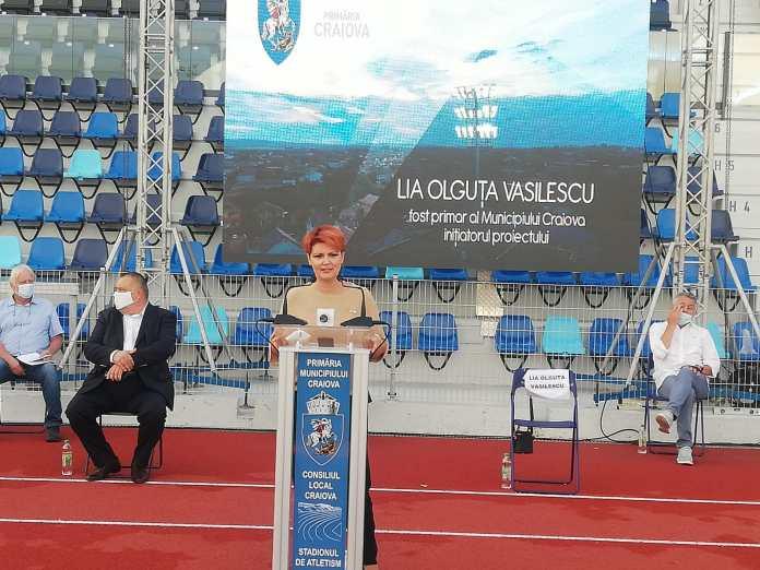 Olguța Vasilescu, la Inaugurarea electorală a stadionului de atletism din Craiova