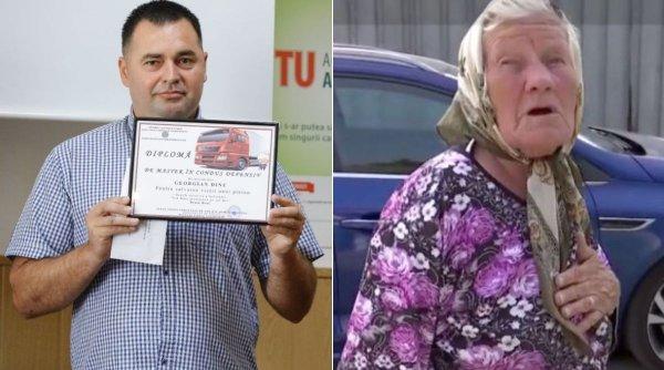 Şoferul de camion care a salvat viaţa unei femei de 90 de ani a fost premiat de poliţişti