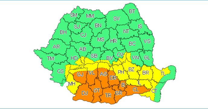 Cod portocaliu de precipitaţii în aproape toată Oltenia