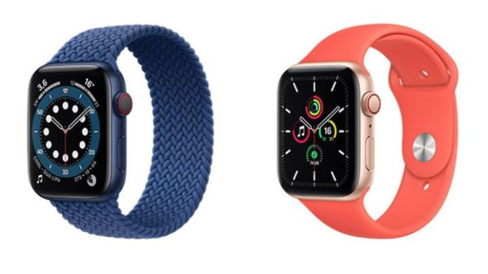 The Apple Watch Series 6 is available in a blue aluminum case like the iPhone 12, and still in gold. (APPLE)