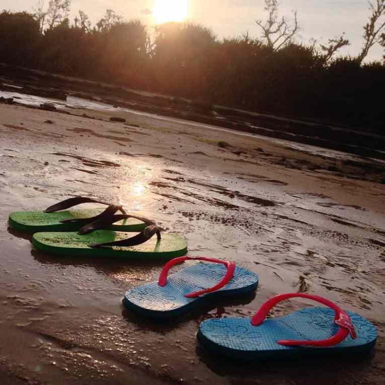 lighten your pack with flip flops