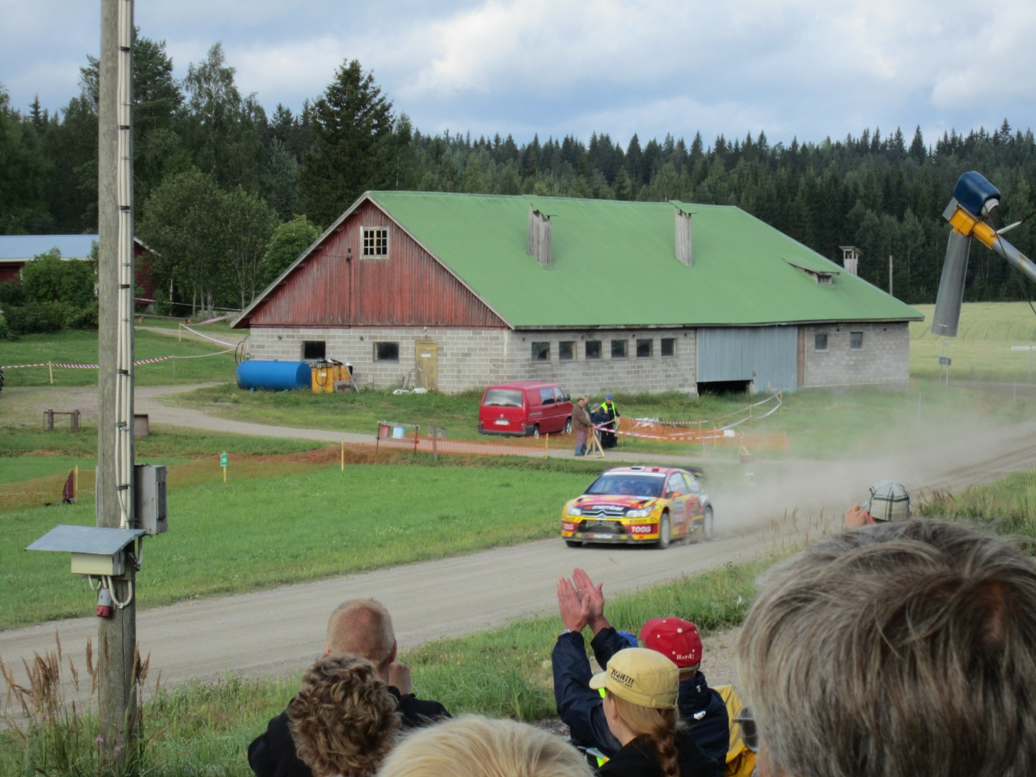 Petter Solberg passing spectators at Rally Finland 2010