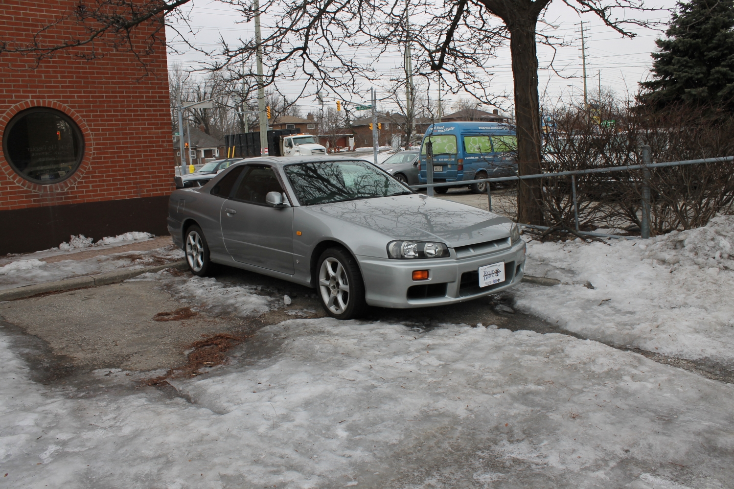 That's right. An R34 Skyline. Just sitting outside. In the snow.