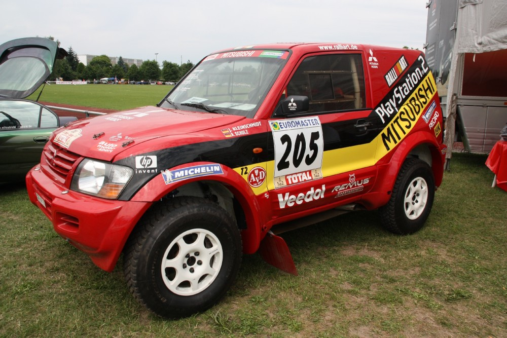 Just a Dakar-winning Pajero parked with Mitsubishi fans in Germany