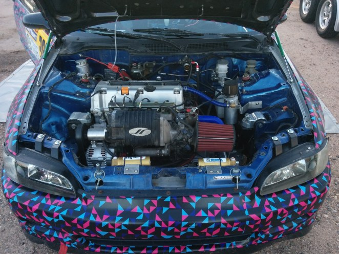 Swapped, supercharged Honda rally car