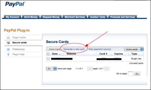 Use PayPal's free disposable credit card number to manage recurring charges