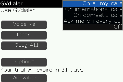 GVdialer for BlackBerry enables ultimate Google Voice dialing integration