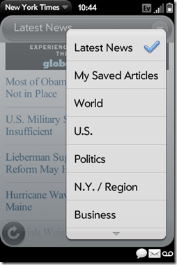 Palm Pre App Catalog. 30 Apps in 30 Days. Day 23: The New York Times  Palm Pre App Catalog. 30 Apps in 30 Days. Day 23: The New York Times