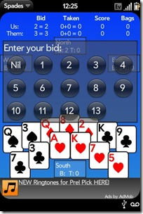 Palm Pre App Catalog. 30 Apps in 30 Days. Day 16: Spades