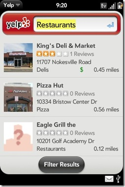 Palm Pre App Catalog. 30 Apps in 30 Days. Day 30: Yelp