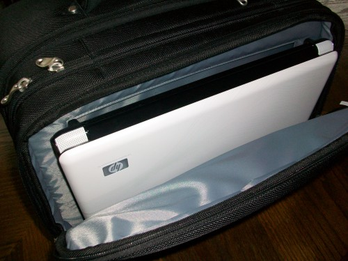 The notebook compartment of the Skooba Checkthrough Rollerbag