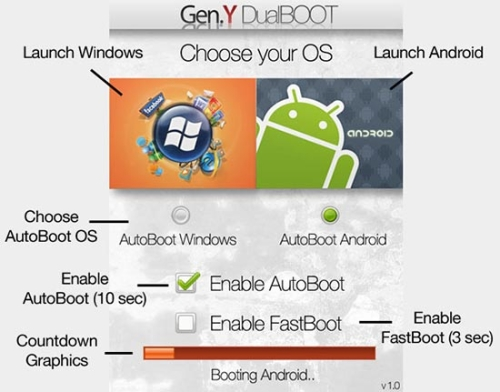 Gen. Y Dualboot lets you pick your poison...Android or Windows Mobile