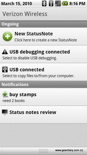 GearDiary Review: StatusNote for Android