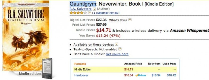 The Lunacy of eBook Pricing - Example from the Forgotten Realms