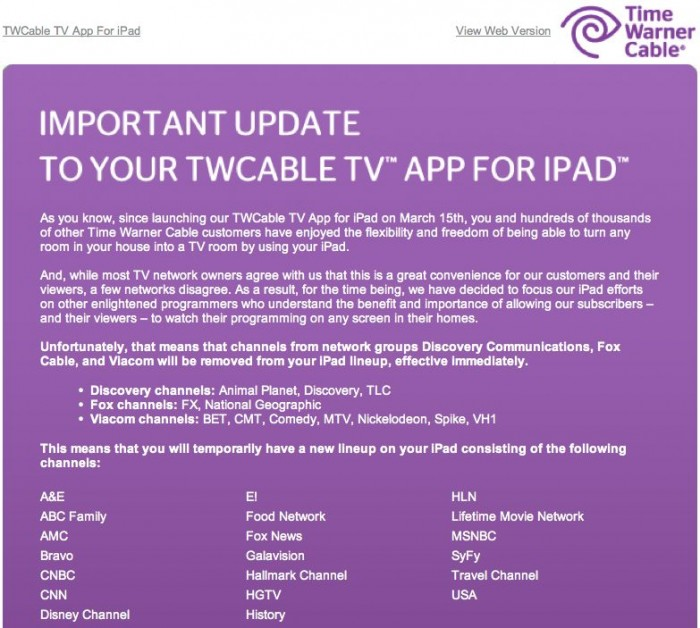 Amc Channel Number Time Warner Cable: Time Warner Cable Has To Pull Channels From Their iPad App u2022 GearDiaryrh:geardiary.com,Design