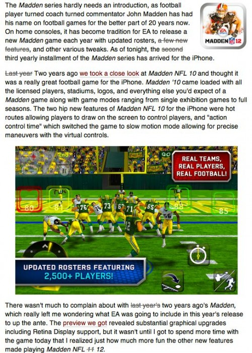 Gear Games Review: Everything You Need to Know About Madden 12 for iPhone/iPad in a Single Image