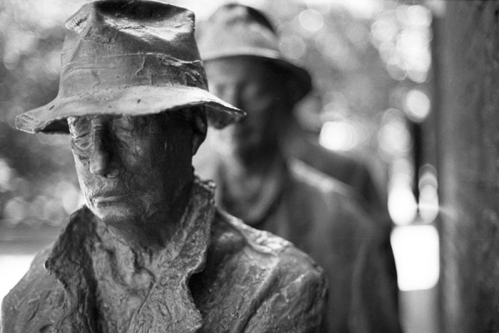 Great Depression Bread Line, FDR Memorial, Washington D.C., photo taken by Flickr user Damon Green
