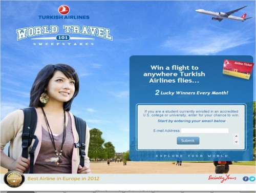 College Students Have a Chance to Win a Free Round Trip Flight FromTurkish Airlines