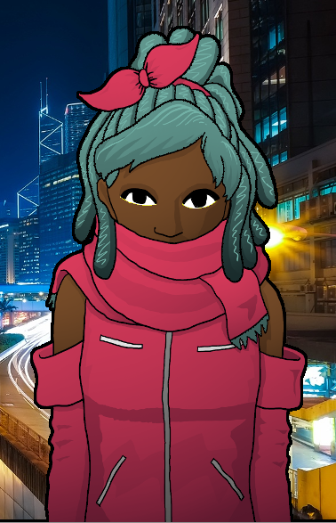 Woman with braided hair standing in front of a city at night.