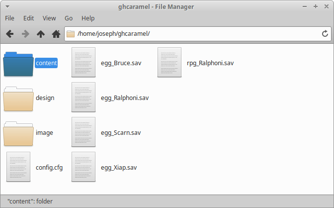 Contents of the ghcaramel user directory.