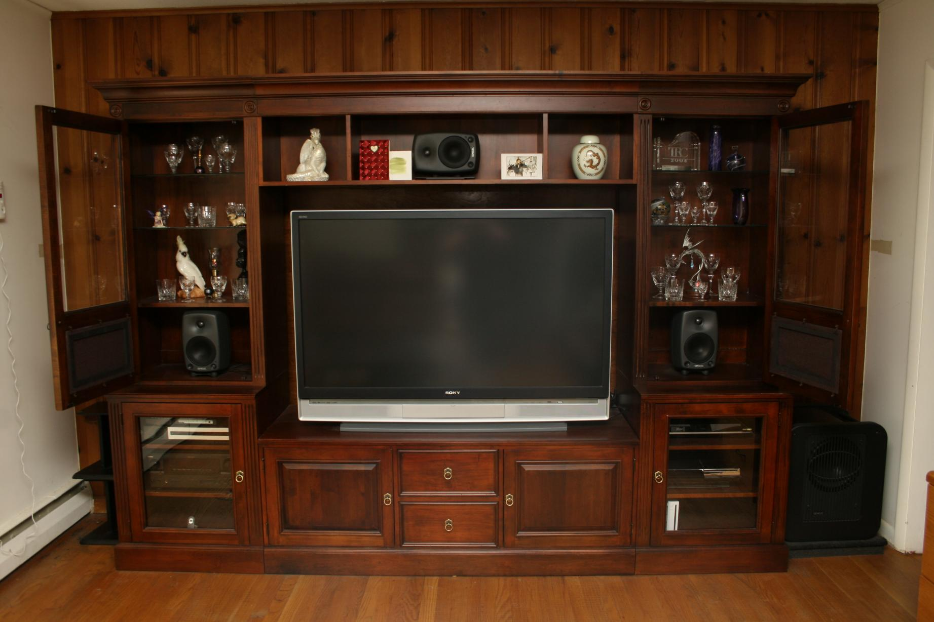 treating speaker cabinet in home entertainment center