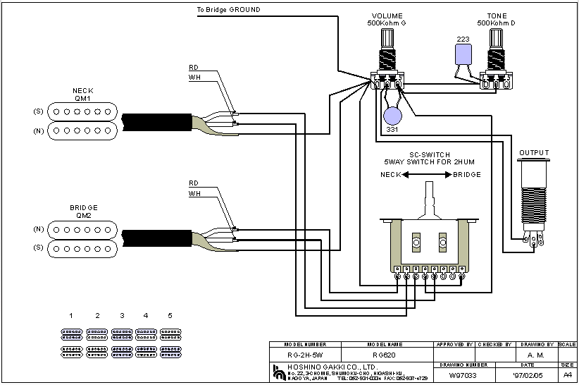 Wiring Diagram 2 Humbucker 2 Volume 1 Tone