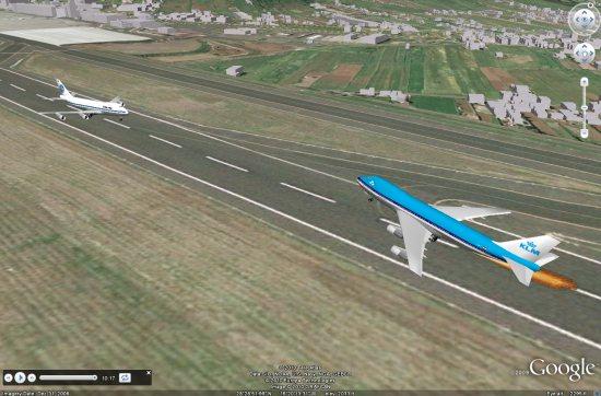 Schermafdruk van de Tenerife vliegtuigramp in Google Earth