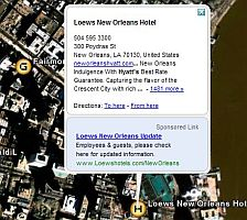 Example of ad advertising in Google Earth screenshot