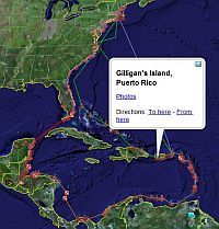 Sailor anchorages in Caribbean GPS track passage in Google Earth