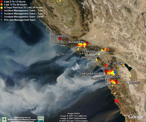 California Fires - Satellite photos, Fire Data in Google ... on lightning strike map california, large map of california, kern county california,