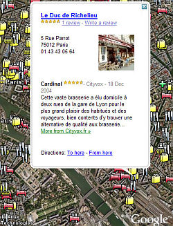 Business Reviews in Google Earth