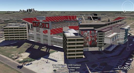 Superbowl XLIII Tampa Bay stadium in Google Earth
