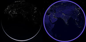 Rosetta Earth at Night and Google Earth