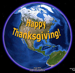 Happy Thanksgiving in Google Earth