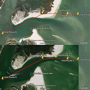 Carolina Beach Inlet in Google Earth verses more recent photo