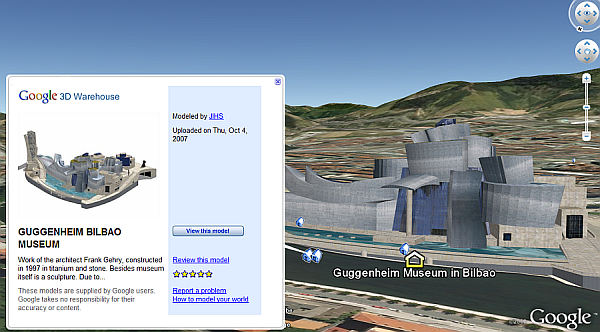 Guggenheim Bilbao Museum in Google Earth