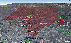 Santa Barbara Fire in Google Earth