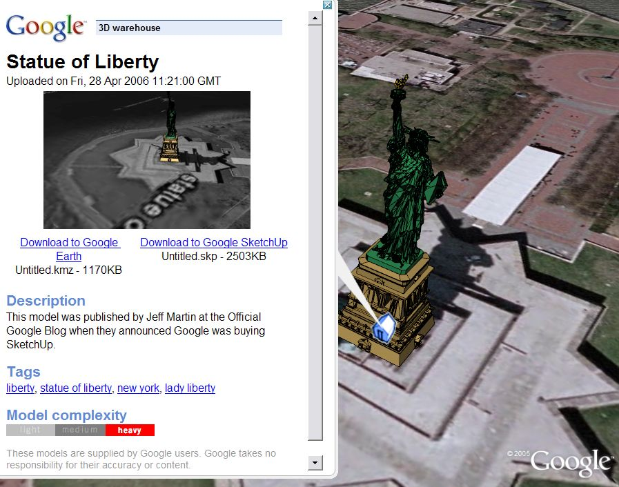 3D Warehouse for Google Earth