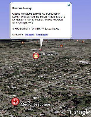 Seattle 911 in Google Earth