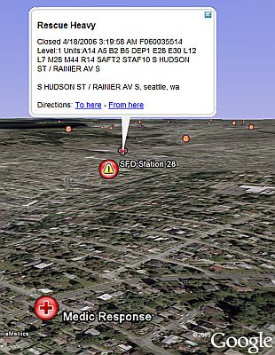 Seattle 911 in Google Earth